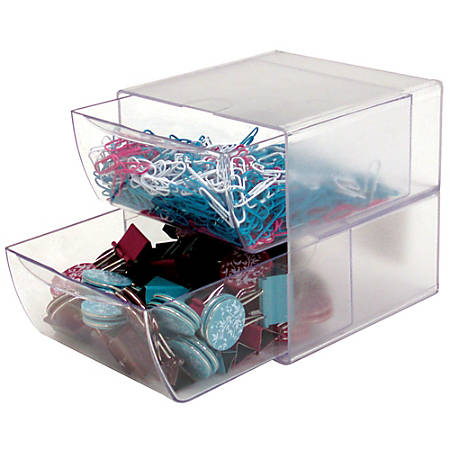"""Deflect-O® Stackable Cube With 2 Drawers, 6""""H x 6""""W x 7 1/8""""D, Clear"""