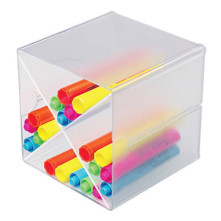 "Deflect-O® Stackable Cube With X Divider, 6""H x 6""W x 6""D, Clear"