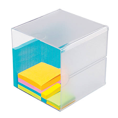 "Deflect-O® Stackable Cube, 6""H x 6""W x 6""D, Clear"