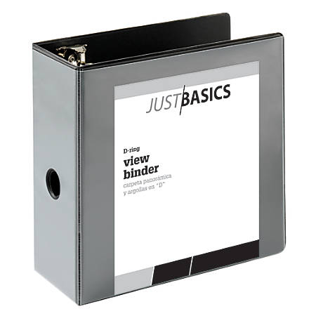 "Just Basics D-Ring View Binder, Basic, 5"" Rings, 38% Recycled, Black"