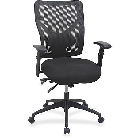 Lorell® Multi-Task Control Mesh Back Fabric Seat Chair, Black