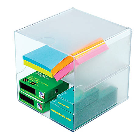 "Deflect-O® Stackable Cube With 2 Shelves, 6""H x 6""W x 6""D, Clear"