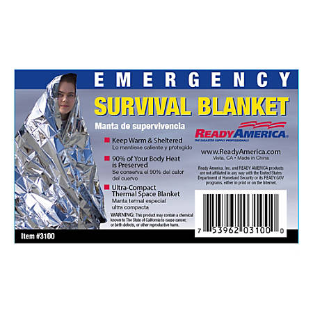 Ready America® Emergency Survival Blankets, Pack of 25 Blankets