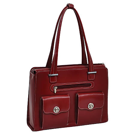 McKleinUSA VERONA Ladies' Fly-Through Checkpoint-Friendly Briefcase, Red