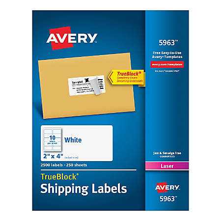 """Avery® TrueBlock® White Laser Shipping Labels, 5963, 2"""" x 4"""", Pack Of 2,500"""