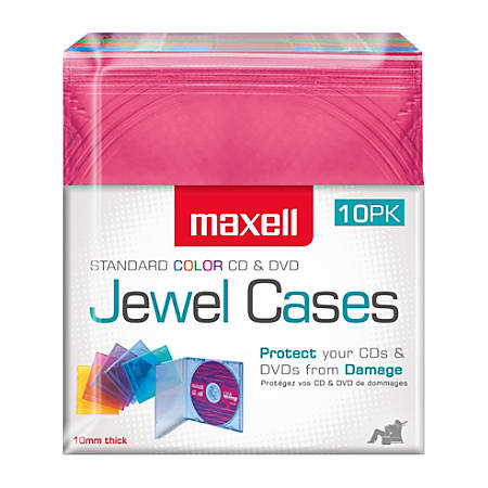 Maxell® Standard Jewel Cases, Assorted Colors, Pack Of 10