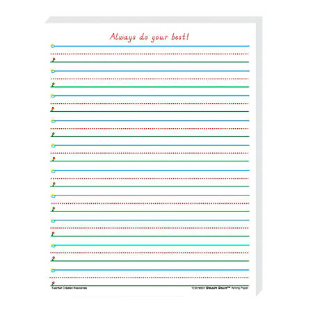 """Teacher Created Resources® Smart Start 1-2 Writing Paper, 8 1/2"""" x 11"""", 100 Sheets (200 Pages), Pack Of 4"""