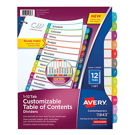 Avery® Customizable Table of Contents Dividers With Ready Index® Tabs, 12-Tab, Multicolor