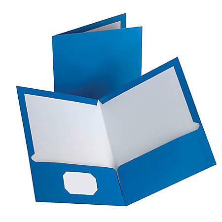 "Oxford™ Laminated Twin-Pocket Portfolios, 8 1/2"" x 11"", Blue, Pack Of 10"