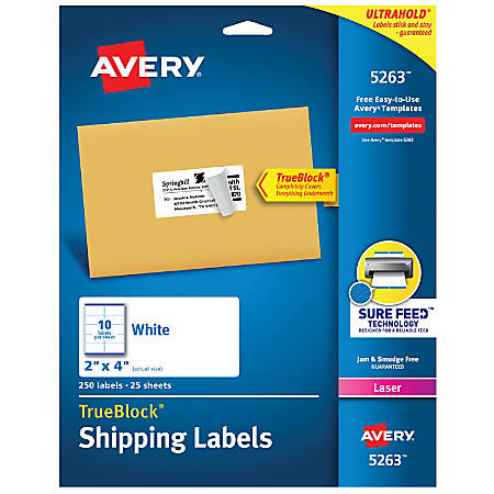 "Avery® TrueBlock® White Laser Shipping Labels, 5263, 2"" x 4"", Pack Of 250"