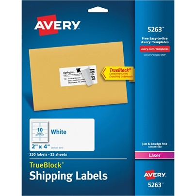 avery trueblock white laser shipping labels 5263 2 x 4 pack of 250