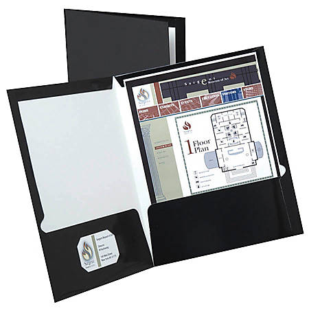 "Oxford™ Laminated Twin-Pocket Portfolios, 8 1/2"" x 11"", Black, Pack Of 10"