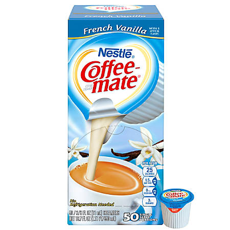 Nestlé® Coffee-mate Liquid Creamer Singles, French Vanilla, 0.38 Oz, Box Of 50 Singles