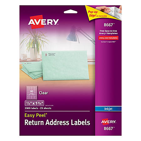 """Avery® Easy Peel® Permanent Address Labels, 8667, 1/2"""" x 1 3/4"""", Matte Clear, Pack of 2,000"""