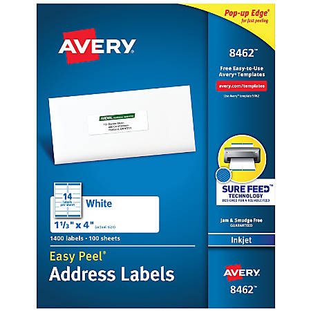"Avery® Easy Peel® White Inkjet Address Labels, 8462, 1 1/3"" x 4"", Box Of 1,400"