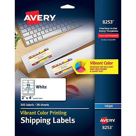 """Avery® Inkjet Shipping Labels For Color Printing, 8253, 2"""" x 4"""", White, Pack Of 200"""