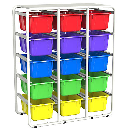 "Storex Storage Rack With 15 Cubby Bins, 34""H x 27-13/16""W x 13-1/4""D, Assorted Colors"
