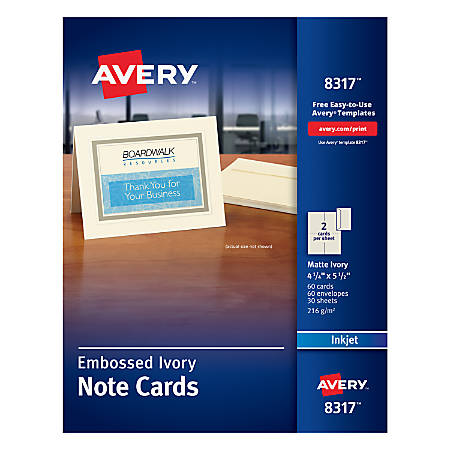 """Avery® Inkjet Note Cards, 4 1/4"""" x 5 1/2"""", Embossed Ivory, Box Of 60"""
