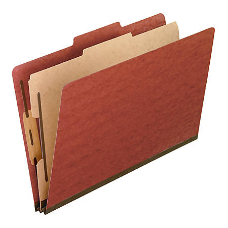 Pendaflex® Pressboard End-Tab Classification Folder, 1 Divider, Legal Size, 70% Recycled, Red, Box Of 10