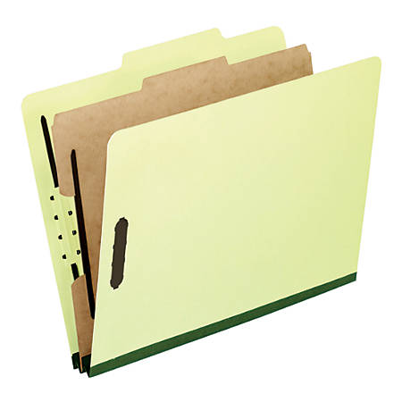 """Pendaflex® Pressboard Classification Folders, 2"""" Expansion, Legal-Size, 57% Recycled, Light Green, Pack Of 10"""