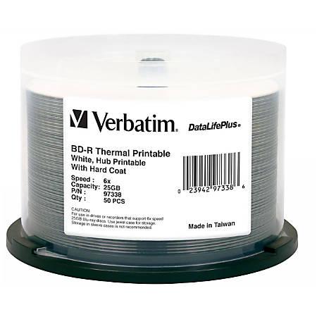 Verbatim BD-R 25GB 6X DataLifePlus White Thermal Printable, Hub Printable - 50pk Spindle