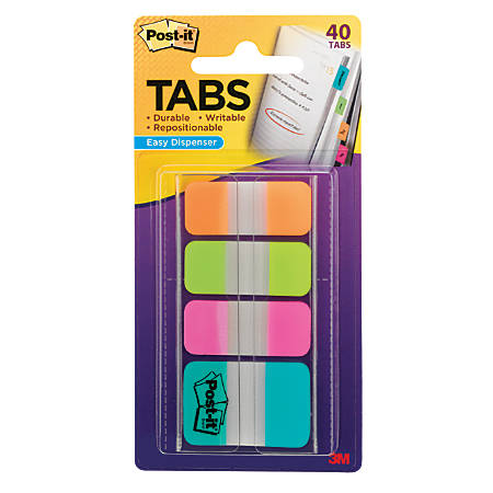 Post-it® Tabs, Assorted Sizes, Assorted Colors, 10 Flags Per Pad, Pack Of 4 Pads
