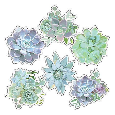Schoolgirl Style Extra-Large Cut-Outs, Succulents, Pack Of 12 Cut-Outs