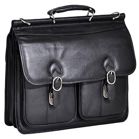 McKleinUSA HAZEL CREST Leather Double Compartment Laptop Case, Black