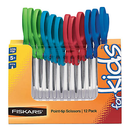 "Fiskars® Scissors For Kids, Grades K-5, 5"" Pointed, Assorted Colors, Pack Of 12"