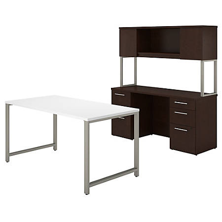 "Bush Business Furniture 400 Series Table Desk And Credenza With File Drawers And Hutch, 60""W x 30""D, Mocha Cherry/White, Standard Delivery"