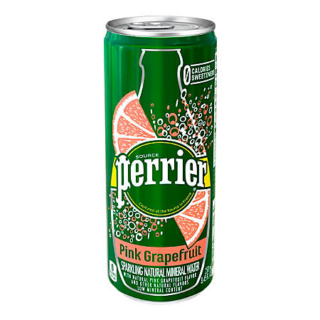 Perrier Flavored Sparkling Mineral Water, Pink Grapefruit, 8.45 Oz, Pack Of 30 Slim Cans