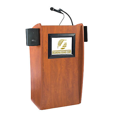 Oklahoma Sound® The Vision Lectern With Sound & Screen & Tie Clip/Lavalier Wireless Microphone, Black/Cherry