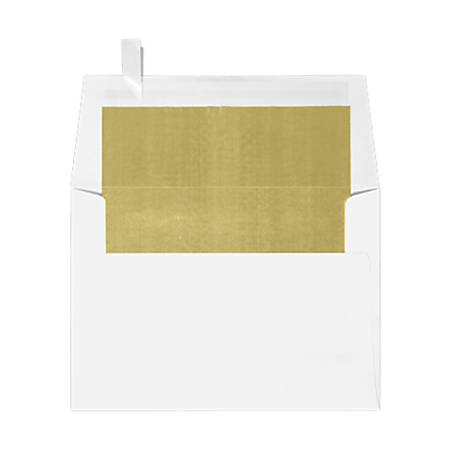 """LUX Invitation Envelopes With Peel & Press Closure, A6, 4 3/4"""" x 6 1/2"""", Gold/White, Pack Of 50"""