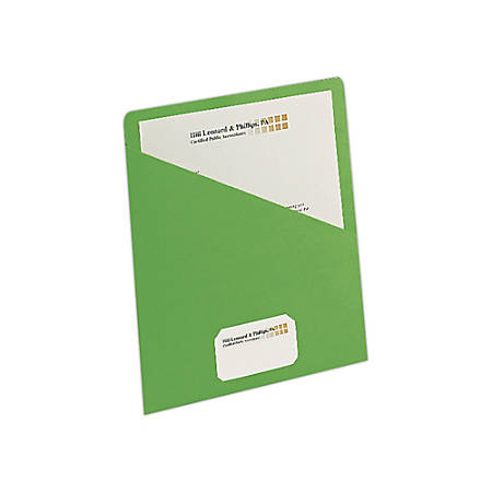 """Smead® Slash File Jackets Convenience Pack, 9 1/2"""" x 11 3/4"""", Green, Pack Of 25"""