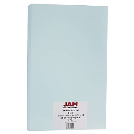 "JAM Paper® Cover Card Stock, 8 1/2"" x 14"", 67 Lb, Vellum Bristol Blue, Pack Of 50 Sheets"