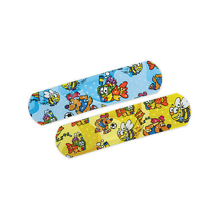 """CURAD® Medtoons Adhesive Bandages, 3/4"""" x 3"""", Assorted Colors, 50 Bandages Per Box, Case Of 24 Boxes"""