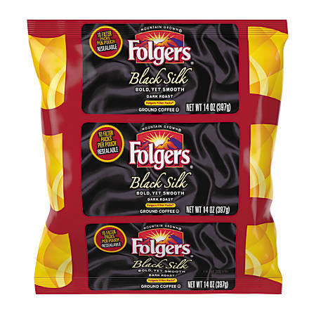 Folgers Black Silk Coffee Filter Packs, 1.4 Oz, Carton Of 40