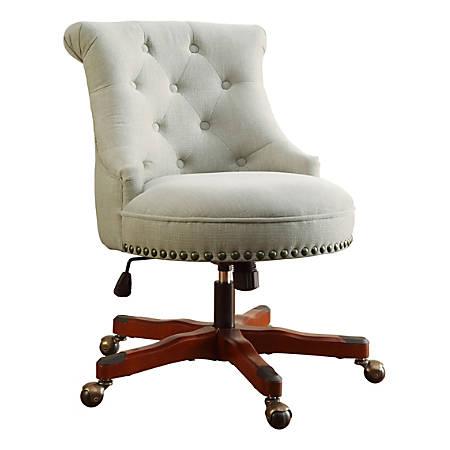 Linon Dallas Fabric Mid-Back Chair, Natural/Dark Walnut