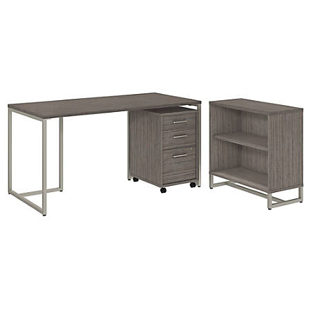 """kathy ireland® Office by Bush Business Furniture Method 60""""W Table Desk with Bookcase and Mobile File Cabinet, Cocoa, Premium Installation"""