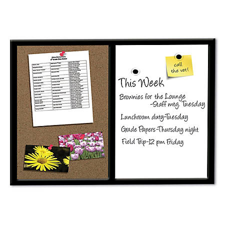 """FORAY™ Magnetic Combo Board With Black Wood Frame, 24"""" x 36"""""""