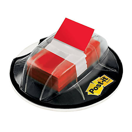 """Post it® Flags in Desk Grip Dispenser, 1"""" x 1 7/10"""", Red, 200 Flags"""