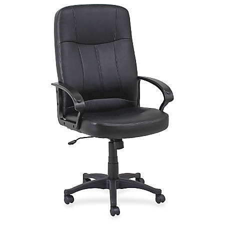 Lorell® Chadwick Executive Bonded Leather High-Back Chair, Black