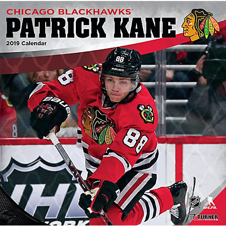 "Turner Sports Monthly Wall Calendar, 12"" x 12"", Chicago Blackhawks Patrick Kane, January to December 2019"