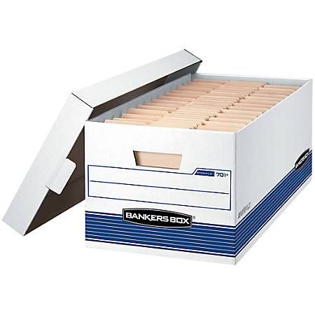"""Bankers Box® Stor/File™ Storage Boxes, Lift-Off Lid, 24"""" x 12"""" x 10"""", Letter, 60% Recycled, White/Blue, Pack Of 4"""