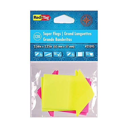 "Redi-Tag Super-size Neon Arrow Page Flags - 60 x Neon Yellow, 60 x Neon Magenta - 2.56"" x 2.25"" - Arrow - Neon Yellow, Neon Magenta - See-through, Writable, Removable, Repositionable, Self-adhesive, Padded - 120 / Pack"