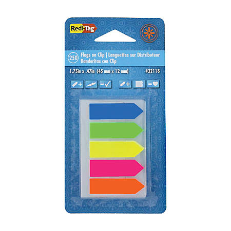 "Redi-Tag See Notes®, 1 3/4"" x 15/32"", Assorted Neon Colors, Pad Of 250 Flags"