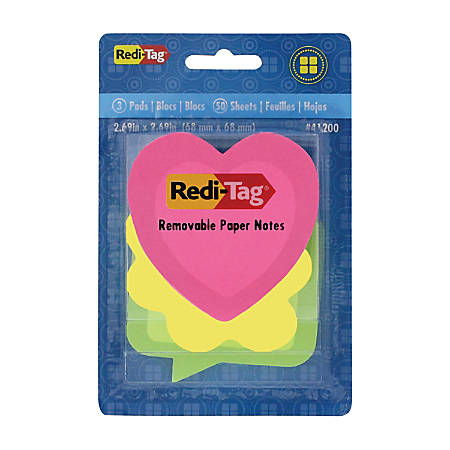 "Redi-Tag® Designer Self-Stick Notes, 2 9/16"" x 2 9/16"", Assorted Neon Shapes, 50 Sheets Per Pad, Pack Of 3 Pads"