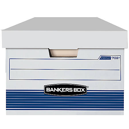 "Bankers Box® Stor/File™ FastFold® Storage Boxes, 24""D x 15""W x 10""H, Legal,  60% Recycled Content, White/Blue, Pack of 4"