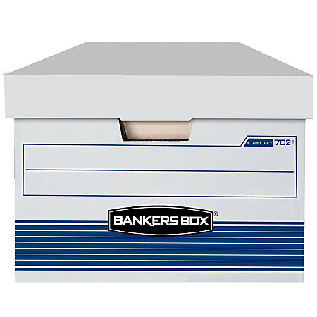 "Bankers Box® Stor/File™ 65% Recycled Storage Boxes, Lift-Off Lid, 24"" x 15"" x 10"", Legal, White/Blue, Pack Of 4"