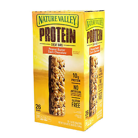 Nature Valley Protein Chewy Peanut Butter Dark Chocolate Granola Bars, 1.42 Oz, Pack Of 26